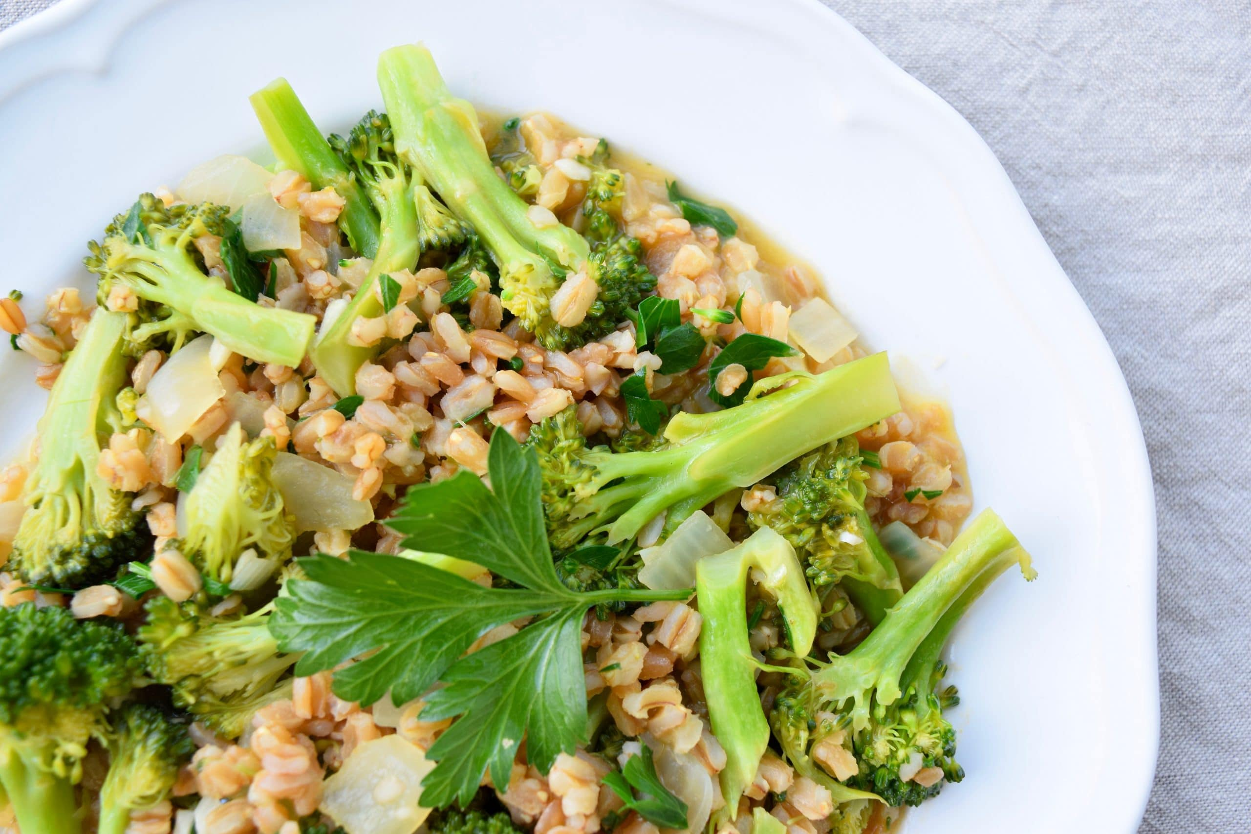 Farro Risotto with Lemon and Broccoli | Earth Powered Family