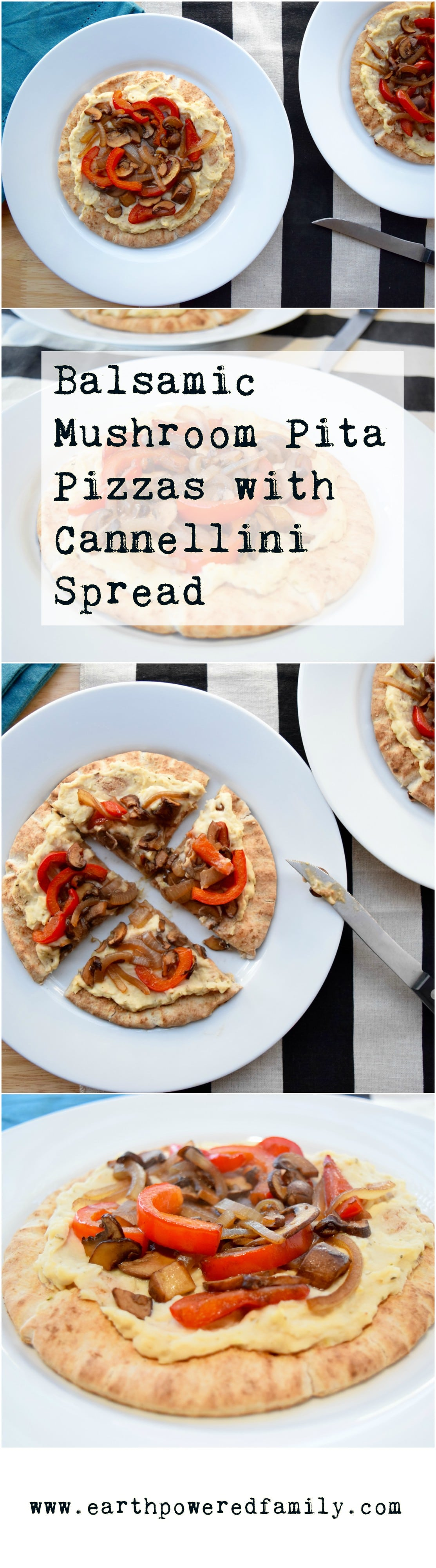 Balsamic Mushroom Pita Pizzas
